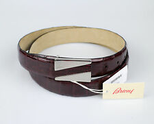 NWT BRIONI Burgundy Crocodile Leather Belt With Silver Buckle Size 95-36 $2395