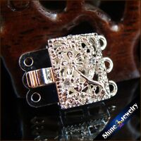 2/5/10 pcs 3 Strings Filigree Silver Plating Flower Box Clasps 12x16mm FINDINGS