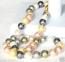 """10mm Natural Multicolor South Sea Shell Pearl Round Gemstone Necklace 18"""" AAA"""