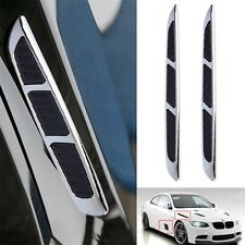 2x 3D Car Chrome Grille Shark Gill Simulation Air Flow Vent Fender Sticker XC