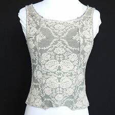 FREE PEOPLE Gray Floral Tapestry Sequin Romantic Sleeveless Tank Top Sz - XS