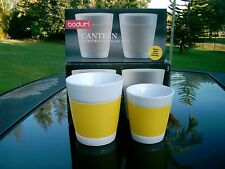 "SET OF 4 BODUM CANTEEN MUGS 2@ 3.25"" & 2 @ 4"" YELLOW IN COLOR  NEW IN BOXES"