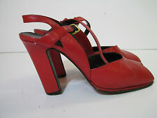 PROJECTIONS Spain VTG 60s RED LEATHER GOGO DANCE High Heel Shoes PLATFORM 7.5 AA