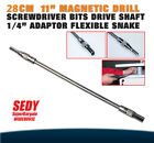 "28cm 11"" Magnetic Drill Screwdriver Bits Drive Shaft 1/4"" Adaptor Flexible Snake"
