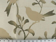 Drapery Upholstery Fabric Birds, Branches, Leaves Silhouette Print - Tan / Green