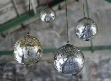 Giant Antique Smoke Bauble. Extra Large 25cm Silver Mercury Glass Xmas Nkuku