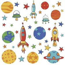 PLANETS ROCKETS 39 Wall Decals Outer Space Room Decor Stickers Stars Decorations
