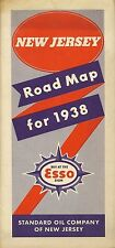1938 ESSO Standard Oil Road Map NEW JERSEY Atlantic City Pulaski Skyway Newark