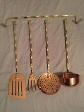 French Copper Utensils Brass Handles And Rack - Spatula Ladel Fork Strainer NOS