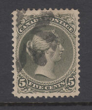 Canada Sc 26 used. 1875 5c olive green Large Queen, crease