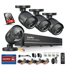 SANNCE 8CH 960H HDMI DVR 900TVL Outdoor CCTV Home Security Camera System 1T