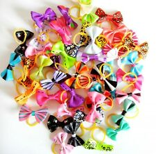 10pcs Assorted Pet Grooming Ribbon Cat Dog Hair Bows w/Rubber Bands Accessories
