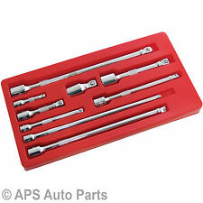 "Heavy Duty 9PC 3/8"" 1/4"" 1/2"" Drive Wobble Extension Bar Set Socket Ratchet Set"