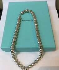 """CLASSIC! AUTHENTIC TIFFANY & CO. STERLING SILVER .925 BALL BEAD 18"""" NECKLACE"""