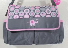 BABY BOOM Baby Elephant Girls Diaper bag 6 pockets Grey/Pink with Changing pad