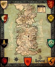 """Game Of Thrones Houses Map Westeros New Fabric poster 16"""" x 13"""" Decor 68"""
