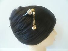 Japanese Handmade Tensha Beads WGold-tone Dangle Kanzashi Hairpin Stick Ornament