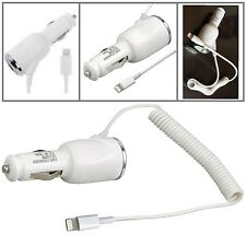 NEW UK WHITE IN CAR CHARGER FOR IPHONE 7 6 PLUS 5 5S 5C 6s PLUG CIGARETTE SOCKET