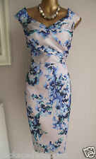 MONSOON ILKA BLUE GREEN SILVER FLORAL SUMMER SHIFT WEDDING OCCASION DRESS 22