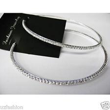 Plata Diamante Pedrería Aro Pendientes de tamaño mediano 2.5 pulgadas