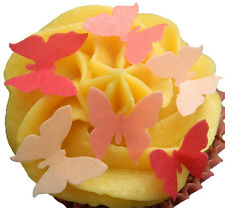 36 X PINK MIX BUTTERFLY EDIBLE WAFER PAPER CUP CAKE TOPPERS PARTY DECORATIONS