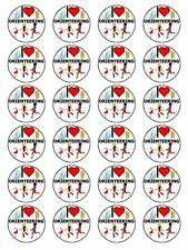 "x24 1.5"" I Love Orienteering Compass Map Navigation Cupcake Topper On Rice Paper"