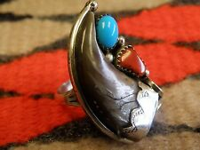 Size 6.5 Navajo Sterling Silver Red Coral & Turquoise Faux Bear Claw Ring by JCY