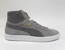 Puma Men's SUEDE MID CLASSIC+ Shoes Drizzle/Steel Grey/White 356340-16 a Size 8