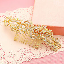 Gold Bridal Hair Accessories Peacock Feather Tone Rhinestone Hair Pin Hair Combs