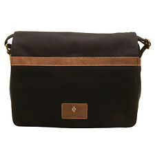 Cactus - Large Black Canvas Cross Body Flap Over Messenger Bag