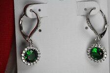 Nickel Free Emerald Leverback Sterling 925 Silver Halo Flower Dangle Earrings