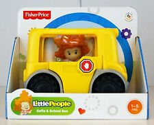 "Fisher Price Little People SOFIE & SCHOOL BUS - 5"" Long - Brand New In Box BNIB"