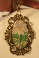 Gorgeous Slender Festoon Vintage Epoxy Lily Iris Flower Brasstn Pendant Necklace