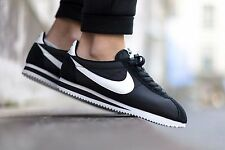 Nike Cortez Basic Leather 819719-012 Mens Sz 12 Black / White / Metallic Silver