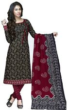 Vatika Women's Cotton  Unstitched Dress Material(D06_Black & Maroon_Free size)