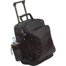 Black Motorcycle Rolling Trunk Bag, Men Saddlebag Sissy Bar Bookbag Trolley Case