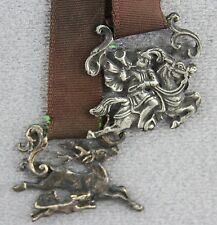 VINTAGE BOOK MARK CAST SILVER METAL CHARMS ON GROSGRAIN RIBBON STAG HUNT THEME