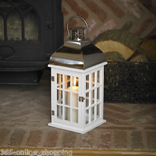New Large 50cm White Wooden Hurricane Candle Lantern Glass & Wood Candle Holder