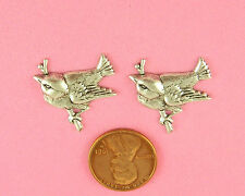 SMALL ANT SILVER PLATED BRASS CHICKADEE ON A BRANCH - 2 PC(s)