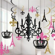 17 X A DAY IN PARIS THEMED GLITTER HANGING DECORATIONS
