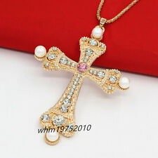 New Womens Rose Gold Plated Pearl Crystal Cross Pendant Sweater Chain Necklace
