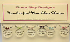Wine Glass Charm Rings THIS GIRL IS ON FIRE set of 6 - with Swarovski Crystals