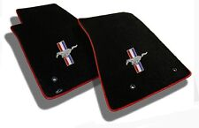 NEW! 1964-1973 Black Front Floor Mats Mustang Pony Bars Embroidered Logo W/red