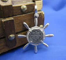 New Sterling Silver Captain Ship Wheel Pirate Treasure Cob Replica Coin Pendant