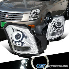 Cadillac 2003-2007 CTS SMD LED Halo Projector Headlights Head Lamps Chrome Pair