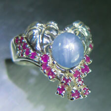 Natural cornflower blue Ray Star Sapphire Sterling silver autumn bouquet ring