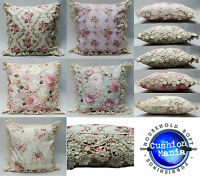 Vintage Floral Country Cottage Pink Cushions with Embroidered Lace