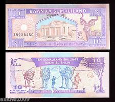 Somaliland 10 Shillings 1996  P-2b Mint UNC Uncirculated Banknotes Consec. Nos.