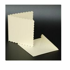 """50 IVORY SCALLOPED 5"""" x 5"""" BLANK CARDS 270gsm & ENVELOPES CARD MAKING CRAFT 1011"""