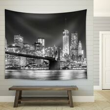 Grayscale Photograph of the Brooklyn Bridge  - Fabric Tapestry - 51x60 inches